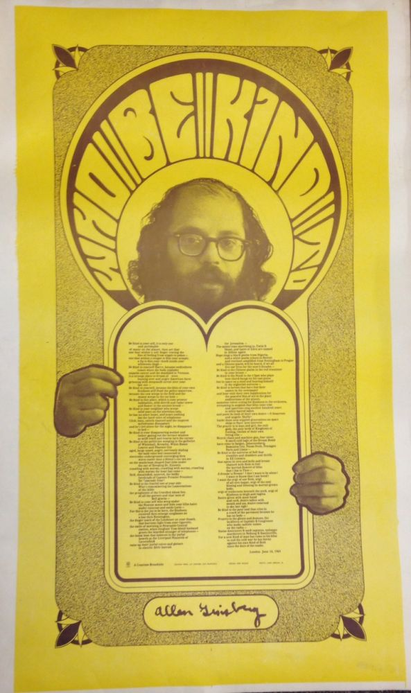 Who Be Kind To [poetry broadside in poster format]. Allen Ginsberg.