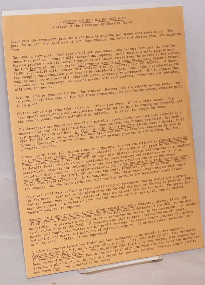 [Group of five leaflets suggesting readings]. Committee for Radical Reading, Thurston Taylor Victor Hopwood, Sheila Delany.