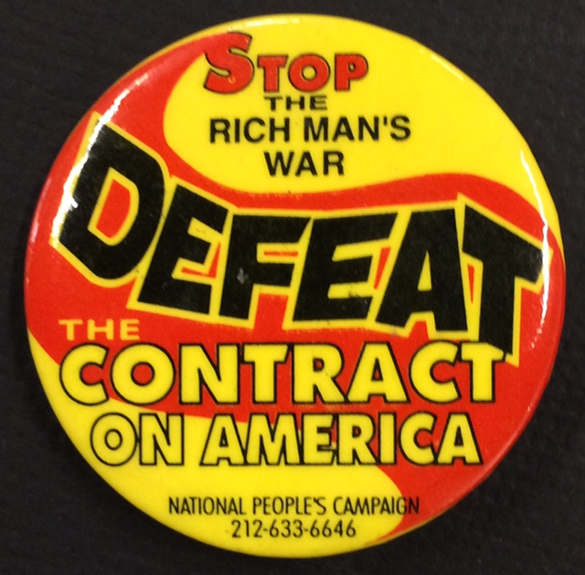 Stop the rich man's war / Defeat the Contract on America [pinback button]