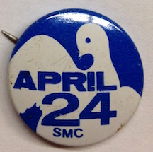 April 24 / SMC [pinback button]. Student Mobilization Committee to End the War in Vietnam.