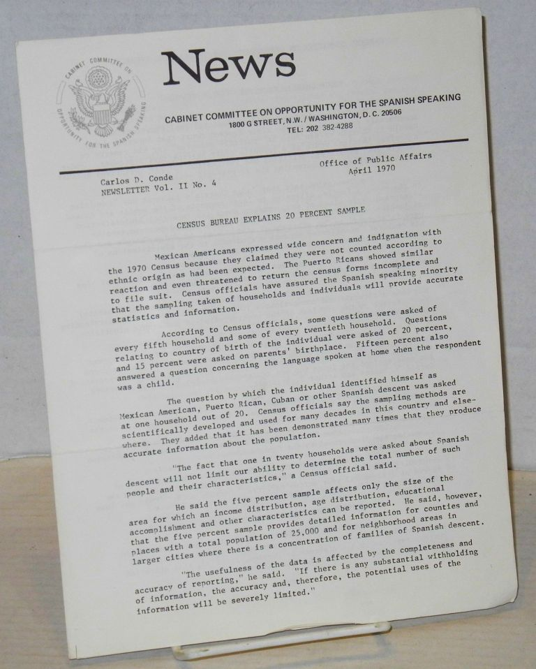 News; a newsletter, vol. 2, #4 April 1970. Cabinet Committee on Opportunities for Spanish Speaking People.