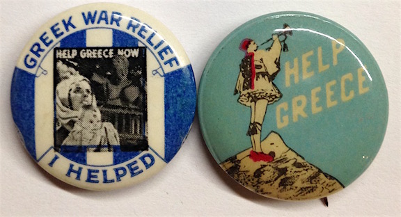[Two pinback buttons for wartime relief to Greece]