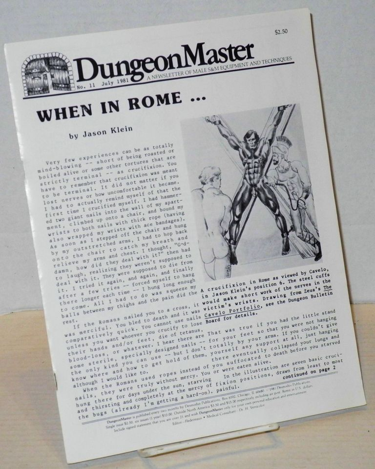 DungeonMaster: a newsletter of male S&M equipment and techniques # 11 July 1981. Anthony F. DeBlase.