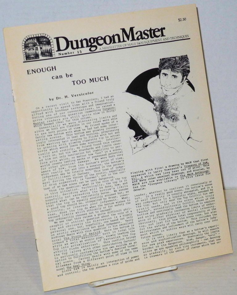 DungeonMaster: a newsletter of male S&M equipment and techniques # 15 March 1982. Anthony F. DeBlase.