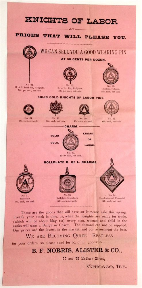 Knights of Labor at prices that will please you [advertising broadside]. Knights of Labor.