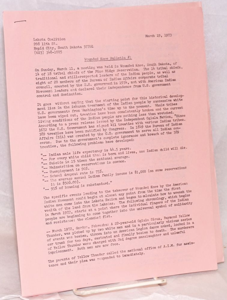 Wounded Knee Bulletin #1. March 19, 1973