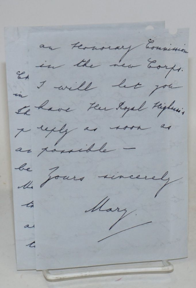 [Four-page letter written by Princess Mary on Harewood House stationery about an honorary commission for her niece, the future Queen Elizabeth]. Viscountess Lascelles Princess Mary.
