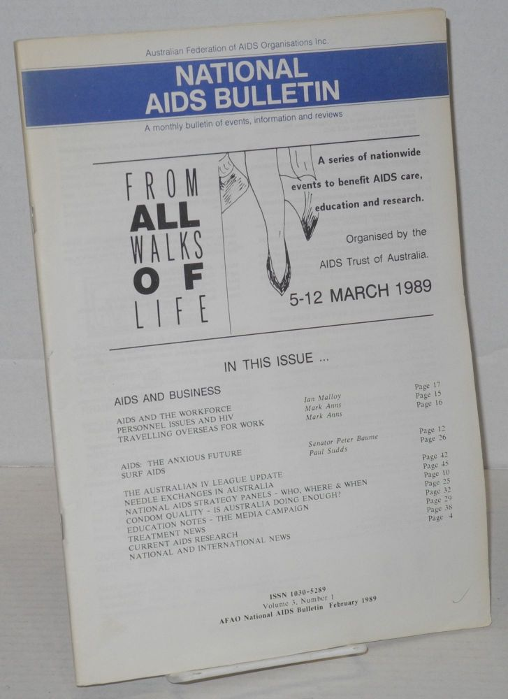 National AIDS Bulletin: a monthly bulletin of events, information and reviews; vol. 3, # 1, February 1989. Warren Talbot.