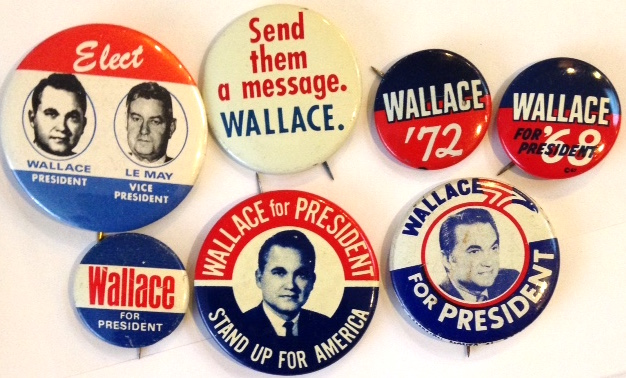 [Seven different pinback buttons from the Wallace campaigns of 1968 and 1972]