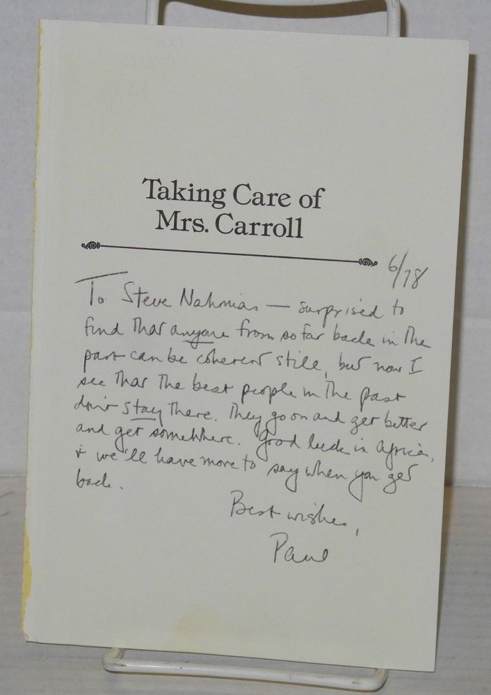 Handwritten note from Paul Monette to Steve Nahmias. Paul Monette, Steve Nahmias.