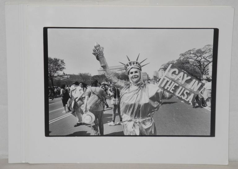 Seven glossy b&w photographs of gay pride events. Jack Rosen Impact Visuals, Jim Saah, Donna Binder, Linda Eber, photographers Alain McLaughlin.