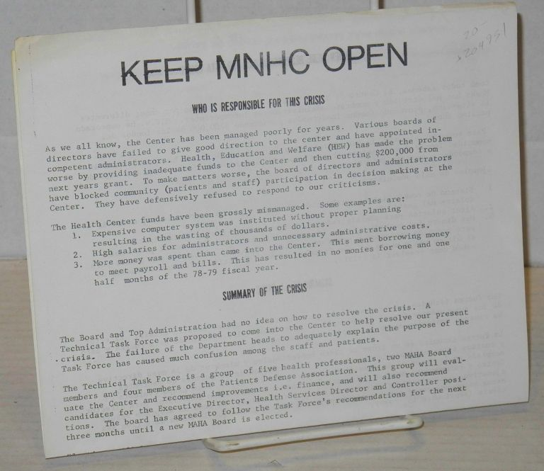 Keep MNHC open. Mission Alliance to Save Our Health Center.