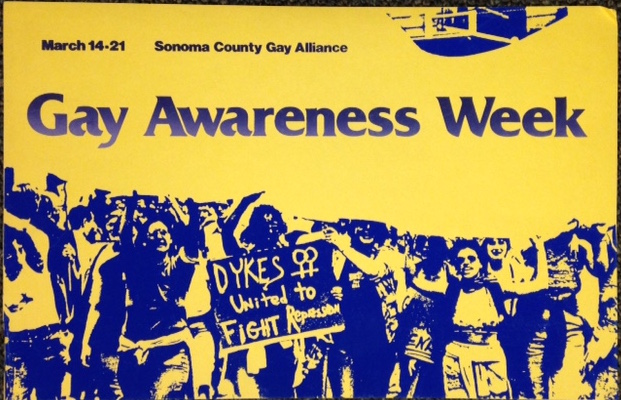 March 14-21 / Gay Awareness Week [silkscreened poster]. Sonoma County Gay Alliance.