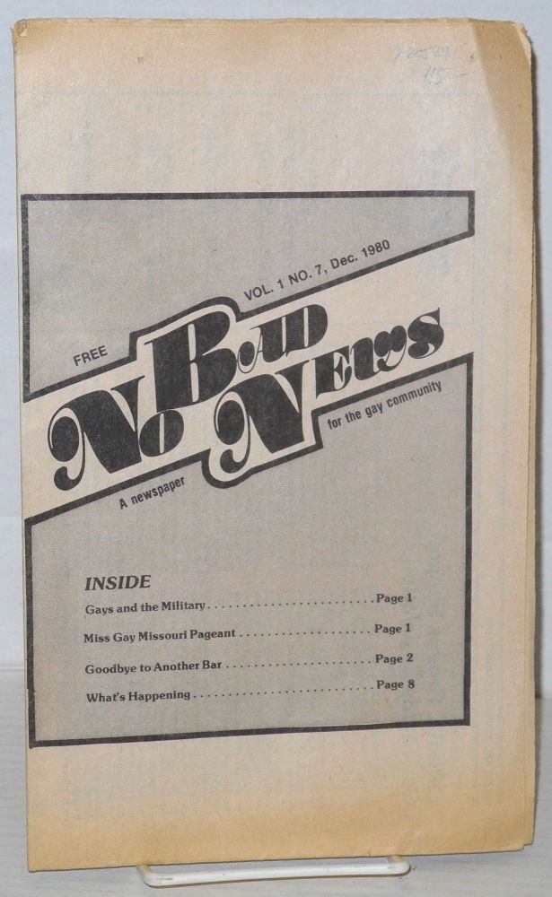 No bad news: a newspaper for the gay community; vol. 1, #7, Dec. 1980. Suzanne Goelle.