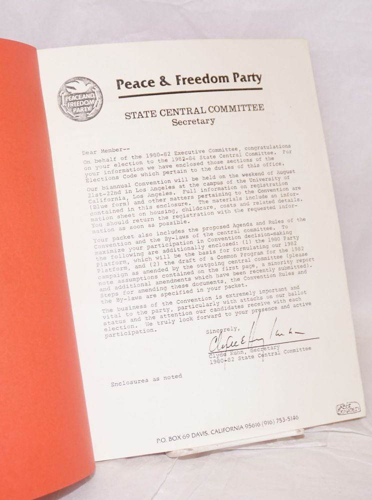 [Orientation guide for newly elected members of the State Central Committee]. Peace, Freedom Party.