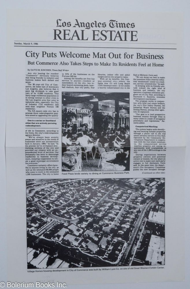 Los Angeles Times Real estate: City puts welcome mat out for business: Sunday, March 9, 1986 [special offprint of LA Times article]. David M. Kinchen.