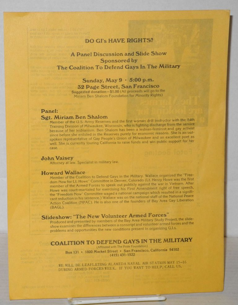 Do GI's Have Rights? a panel discussion and slide show [handbill] panel: Sgt. Miriam Ben Shalom, John Vaisey, Howard Wallace, Sunday May 9, 1976, 5pm