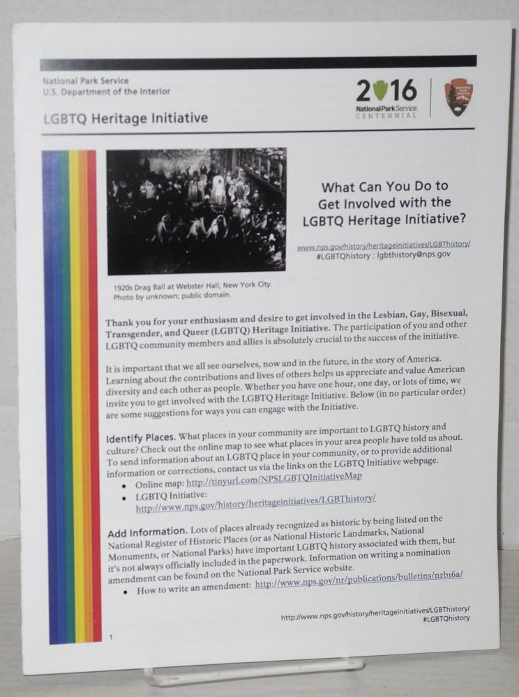 LGBTQ Heritage Intiative: what can you do to get involved with the LGBTQ Heritage Intiative. National Park Service US Department of the Interior.