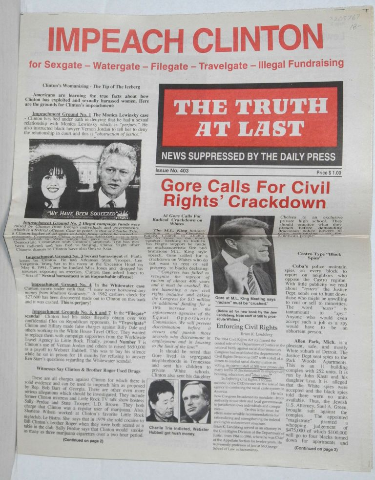 The Truth at Last, issue 403 News suppressed by the daily press. E. R. Fields.