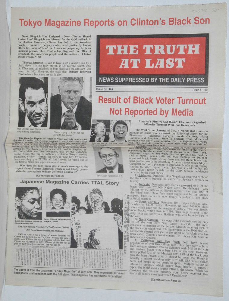 The Truth at Last, issue 409 News suppressed by the daily press. E. R. Fields.