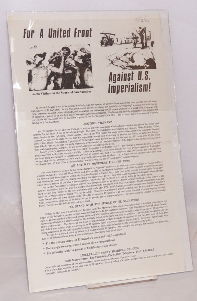 For a united front against US imperialism! [handbill]. Libertarian Party, Radical Caucus.