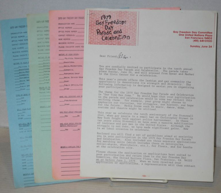 1979 Gay Freedom Day Parade & celebration applications and press release [four items]. Gay Freedom Day Committee.