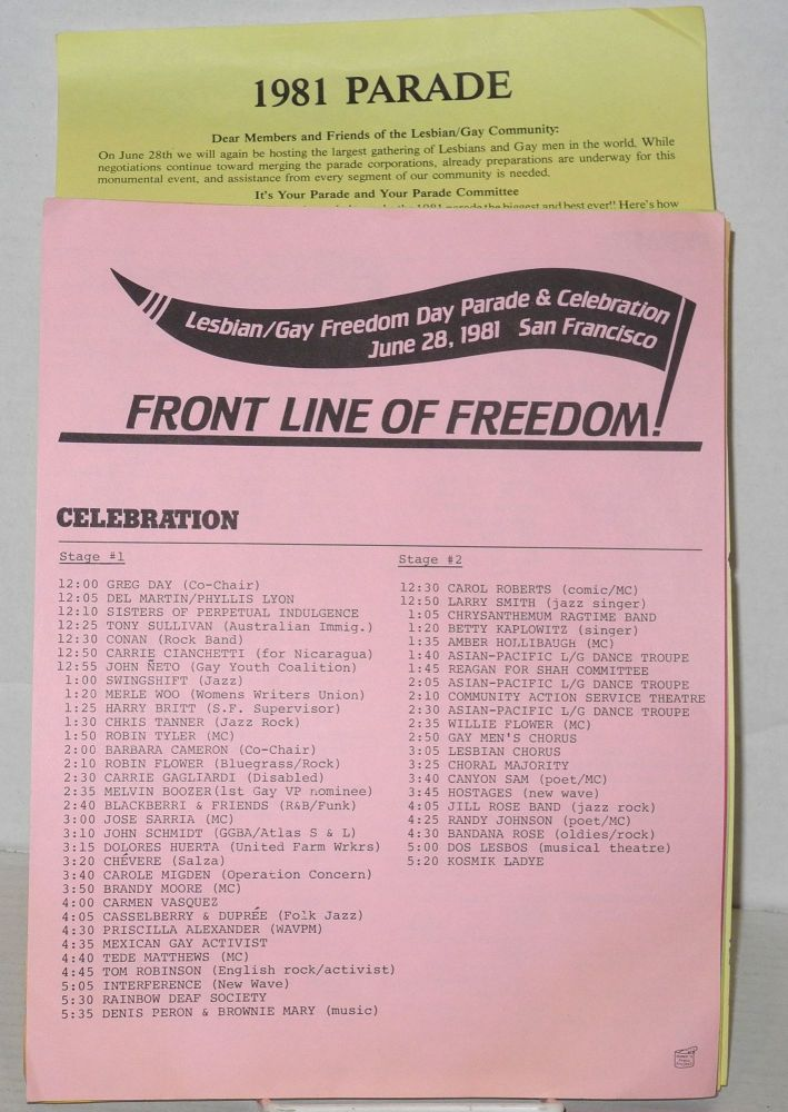 1981 Gay Freedom Day Parade & celebration applications, guidelines, and press release [nine items]. Gay Freedom Day Committee.