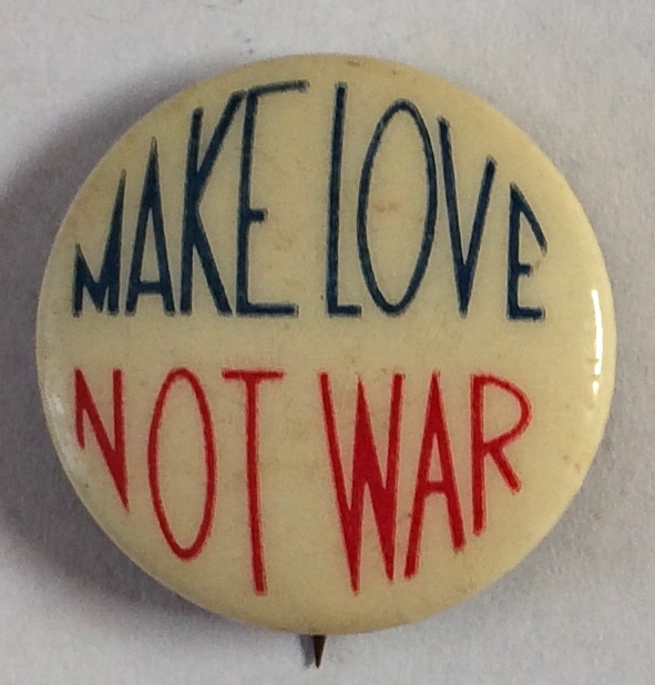 Make love not war [pinback button]