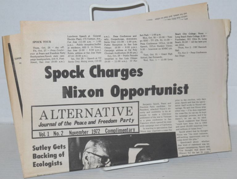 Alternative, Journal of the Peace and Freedom Party. Vol. 1 no. 2 (Nov. 1972)