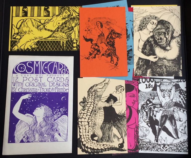 Cosmic Cards. 12 post cards with original designs by Charisma, Trout & Flambe. Rocky Trout, Miriam Flambe, Ruby Charisma.