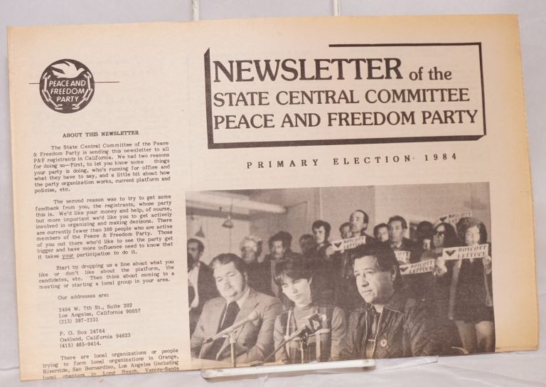 Newsletter of the State Central Committee. Primary Election 1984. Peace, Freedom Party.