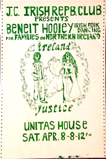 J.C. Irish Repb. Club presents Benefit Hooley, Irish folk dancing, for families in Northern Ireland / Ireland / Justice [poster]