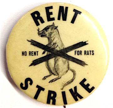 Rent strike / No rent for rats [pinback button]