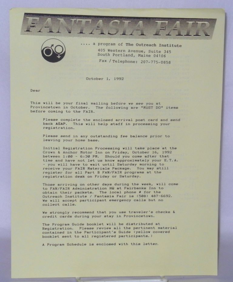 Fantasia Fair.... a program of The Outreach Institute [letter] October 1, 1992. Ari Kane.