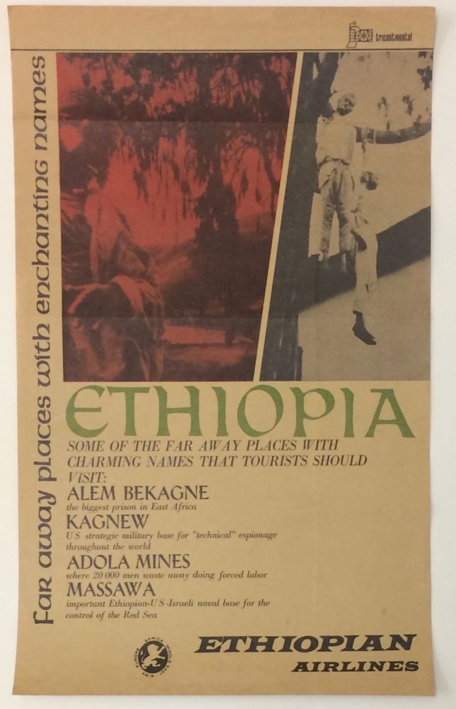 Far away places with enchanting names [parody poster for Ethiopian Airlines, blasting the Selassie government]