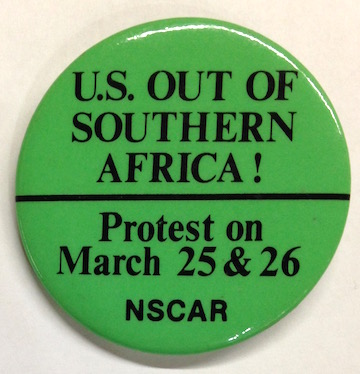 US out of Southern Africa / Protest on March 25 & 26 [pinback button]. National Student Conference Against Racism.