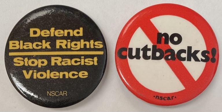 Defend Black Rights / Stop Racist Violence [pinback button]. National Student Conference Against Racism.