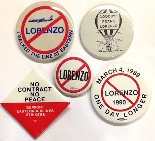 [Five pinback buttons from Eastern Airlines labor disputes]