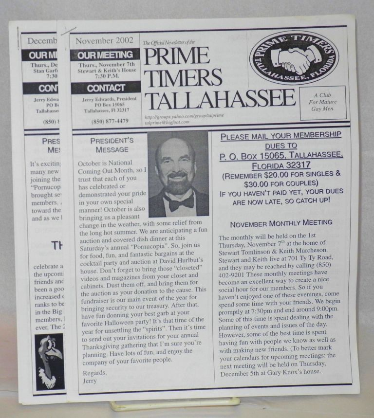 The official newsletter of the Prime Timers Tallahassee: a Club for mature men November & December 2002