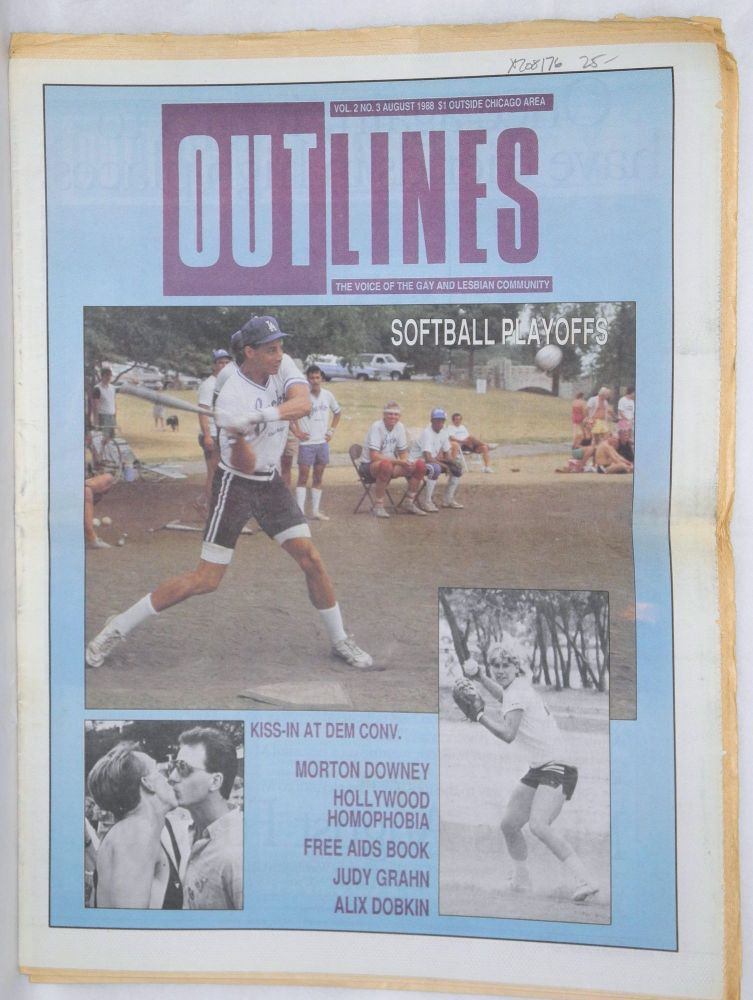 OUTlines: the voice of the gay and lesbian community; vol. 2, #3, August, 1988: Softball Playoffs [cover story]. Tracy Baim.