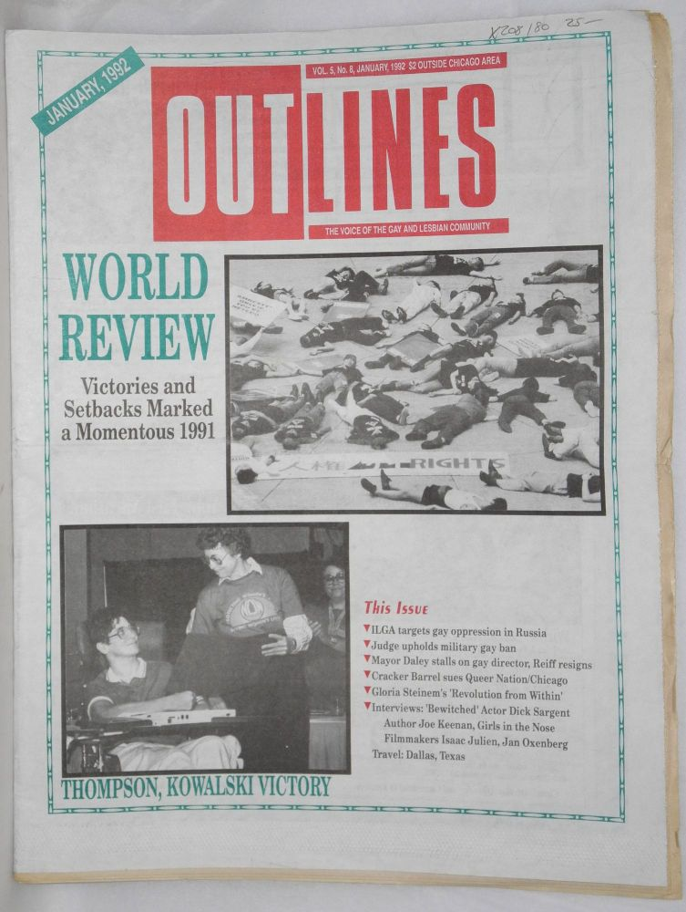 OUTlines: the voice of the gay and lesbian community; vol. 5, #8, January, 1992: World Review: 1991 victories and setbacks [cover story]. Tracy Baim.