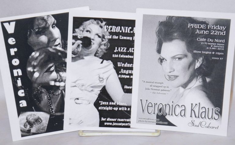 Three postcard-size handbills for performances by Veronica Klaus. Veronica Klaus.