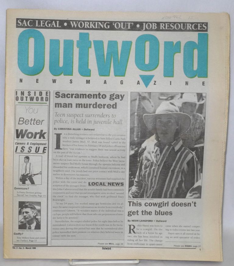 Outword newsmagazine: vol. 2, #3, March 1996. Erich Mathias, managing.