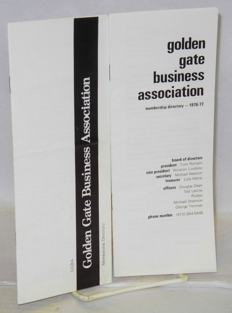 Golden Gate Business Association membership directory: [1975? and 1976/77 - two brochures]. Golden Gate Business Association.