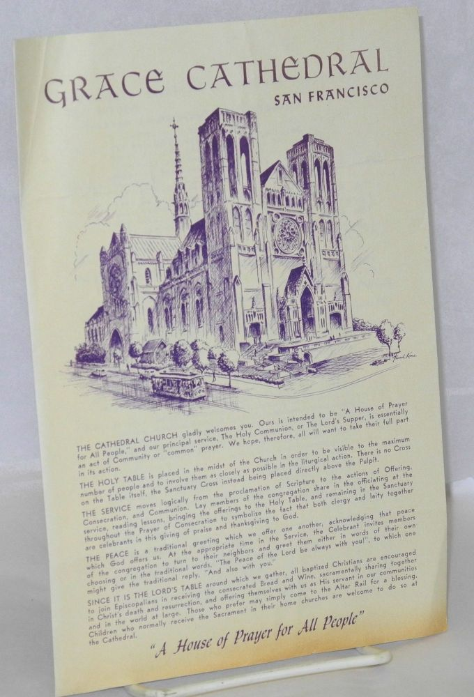 Grace Cathedral, San Francisco program for Monday, June 27, 1977. Frank Kane, cover drawing.