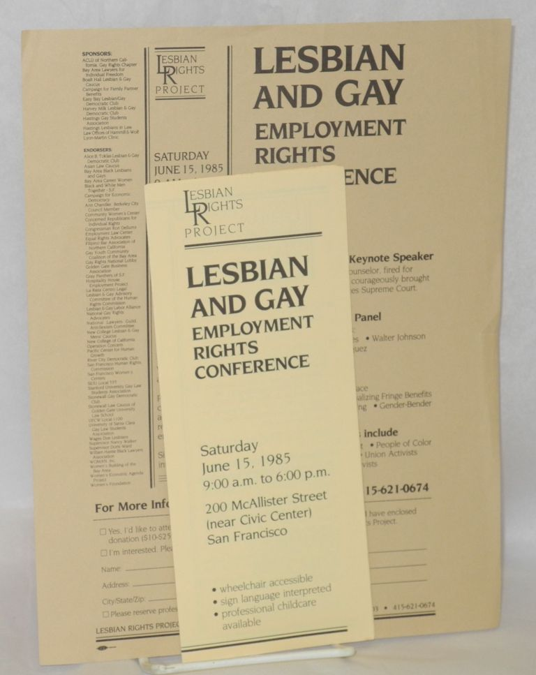 Lesbian and Gay employment rights conference [handbill & brochure] Saturday June 15, 1985. Lesbian Rights Project.