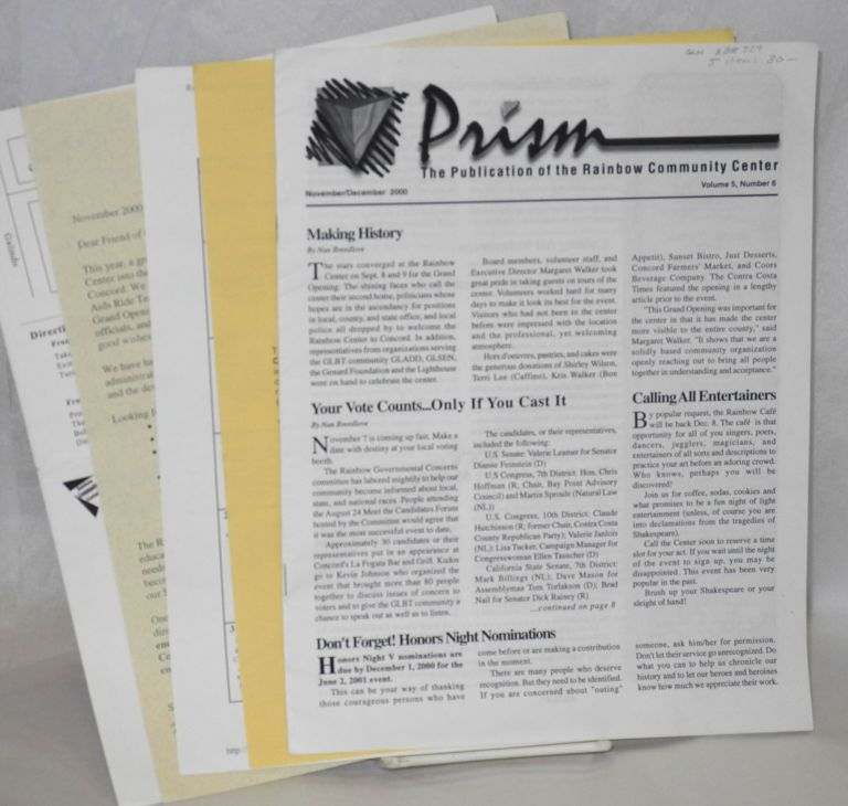 Prism: the publication of the Rainbow Community Center, vol. 5, #6, Nov/Dec 2000 and handbills/mailers relating to the Center: 5 items. Rainbow Community Center.