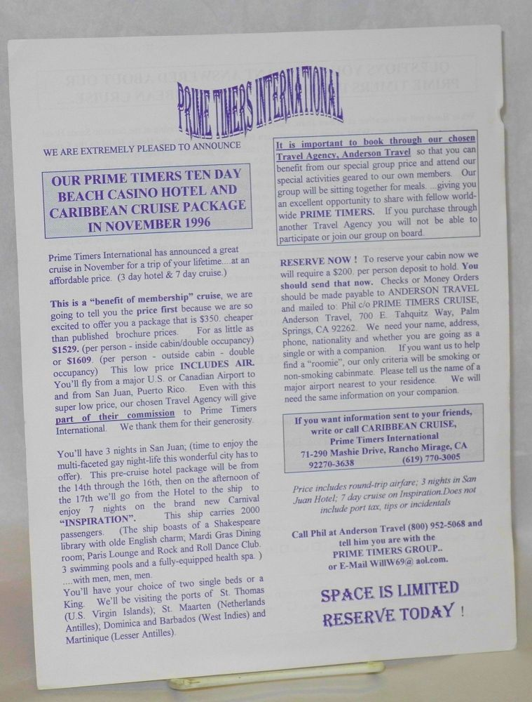 Handbill/mailer: Our Prime Timers ten day Beach Casino Hotel and Caribbean Cruise package in November 1996. Prime Timers International.