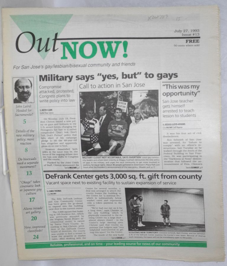 OutNOW! for San Jose's gay/lesbian/bisexual community and friends; issue #13, July 27, 1993. Whayne Herriford.