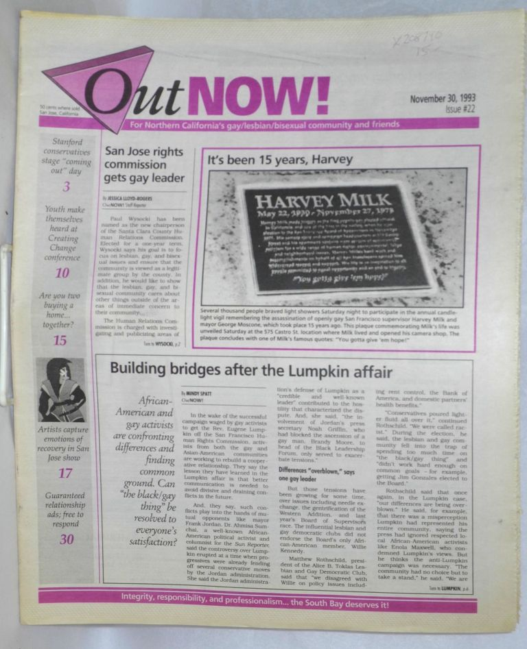 OutNOW! for San Jose's gay/lesbian/bisexual community and friends; issue #22, November 30, 1993. Whayne Herriford.